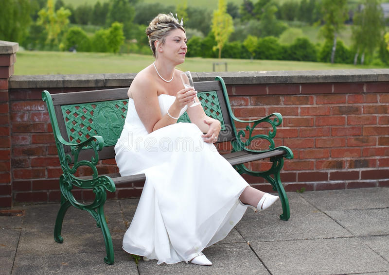 Download Bride relaxing stock photo. Image of wedding, sits, dress - 19989028