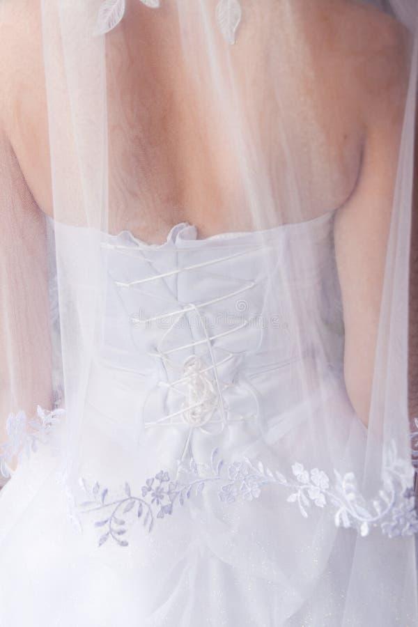 Bride's back. Under the veil stock images