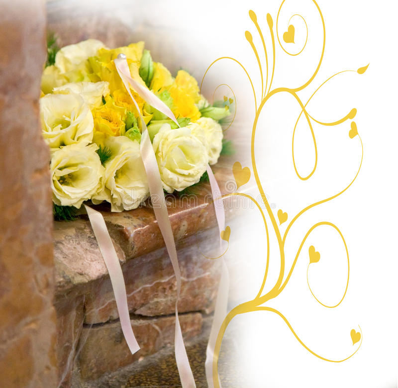 Bride's bouquet and yellow decoration stock image