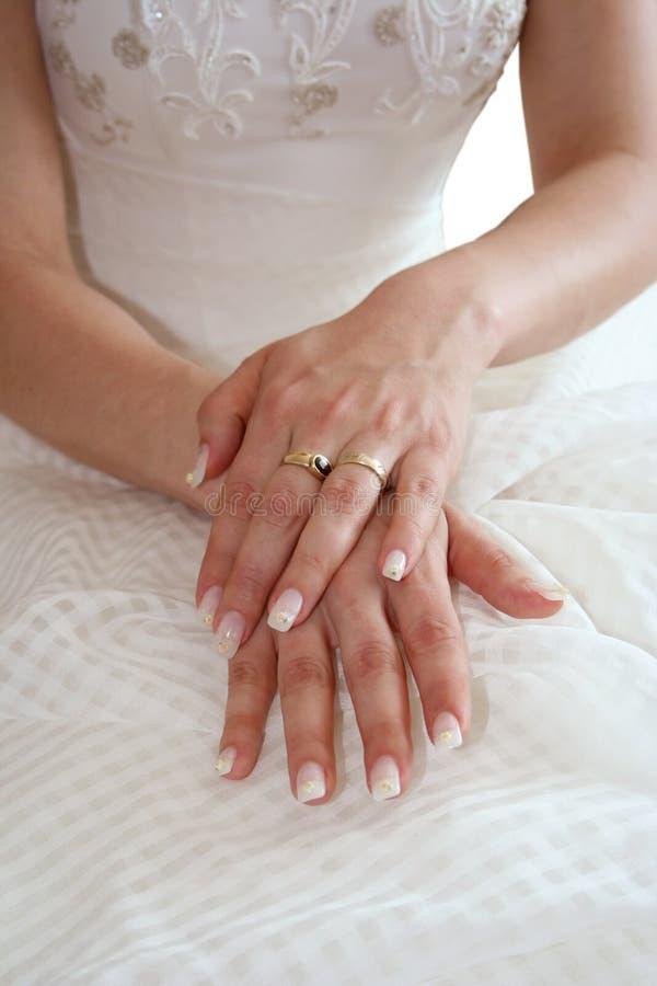 Bride's hands stock image