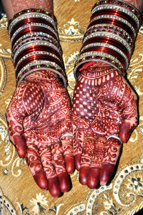 Bride's hands with henna stock photography