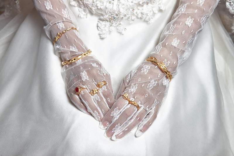 Bride's hand royalty free stock photography