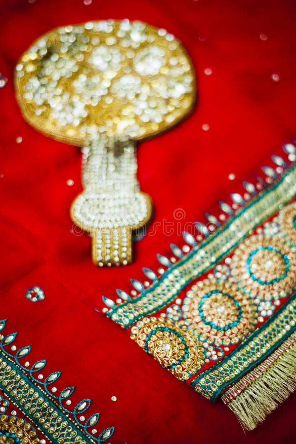 Bride's Saree and accesories. Punjabi bride's Saree and accessories for her wedding day stock images