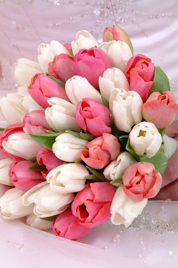 Bride's Tulip Bouquet stock image