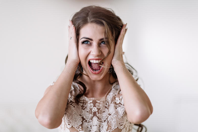 The bride screams royalty free stock images