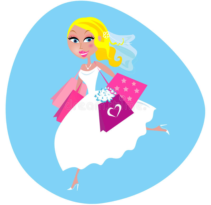 Bride with shopping bags