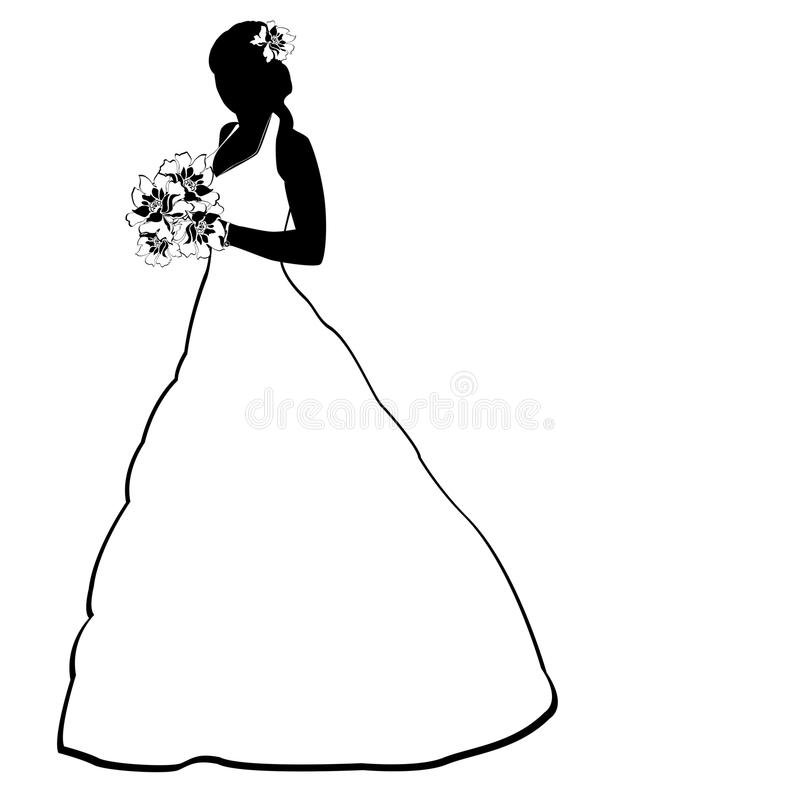 Bride silhouette on white royalty free stock image