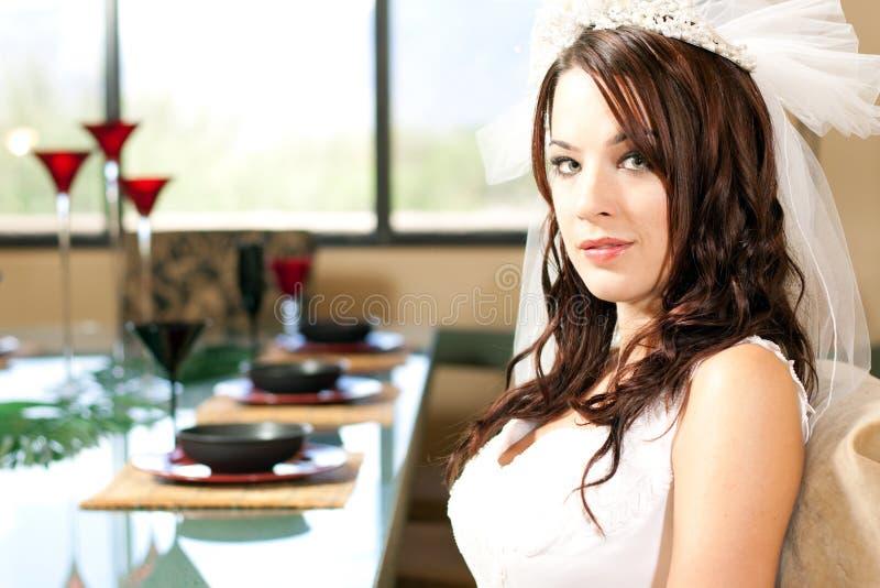 Bride sitting for dinner