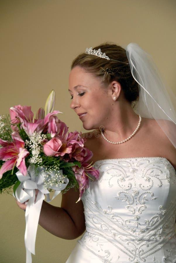 Bride Smelling Bouquet stock photo