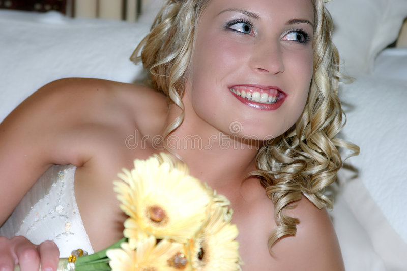 Bride smiling royalty free stock photography