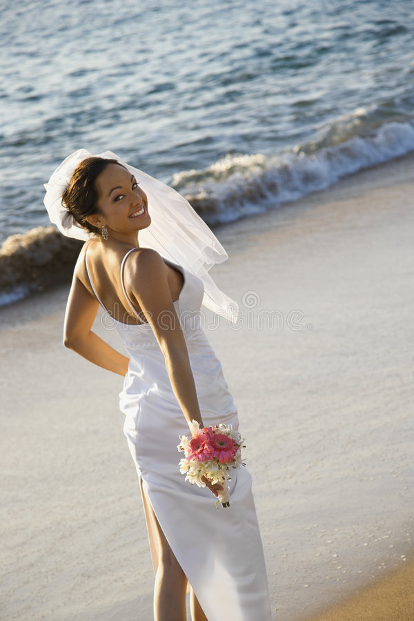 Download Bride standing on beach. stock image. Image of beach, veil - 2045877