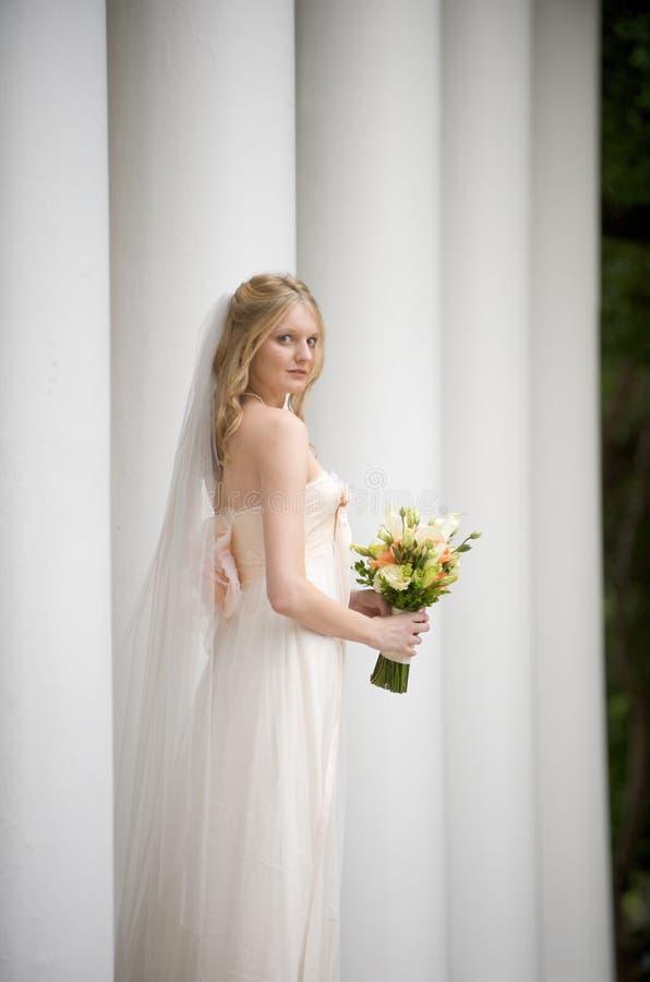 Bride standing among columns stock photos