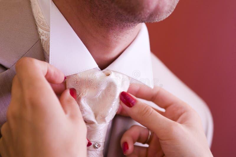 Bride straightens groom`s bow tie. The bride straightens the tie to the groom, close-up stock image