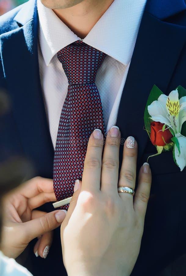 Bride straightens to groom his tie. Bride straightens to groom his tie, close-up of hands stock photo