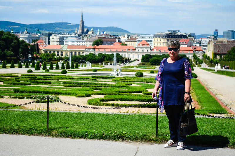 Bride in Summer palace Belvedere in Vienna. Bride garden summer palace Belvedere in Vienna, Austria royalty free stock images