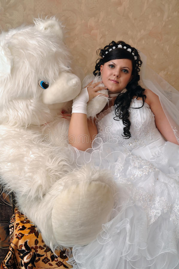 Bride with teddy royalty free stock images