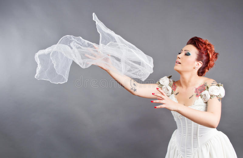 Download Bride throwing her veil stock photo. Image of catching - 27002526
