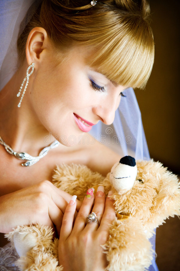 Bride and toy stock photography