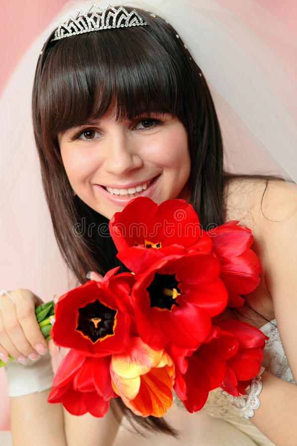 Bride with tulips royalty free stock photos
