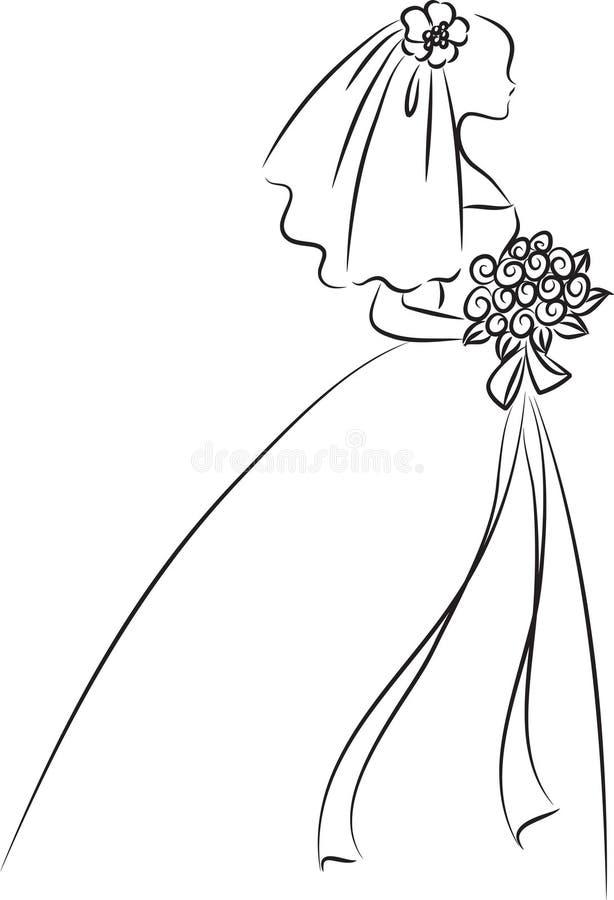 Line Drawing Wedding Couple : Bride stock illustration image
