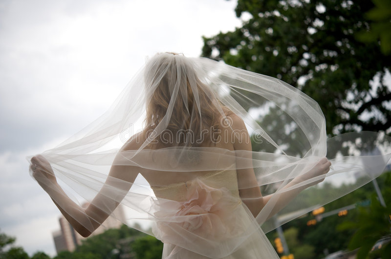 Bride with veil flowing behind her royalty free stock photo