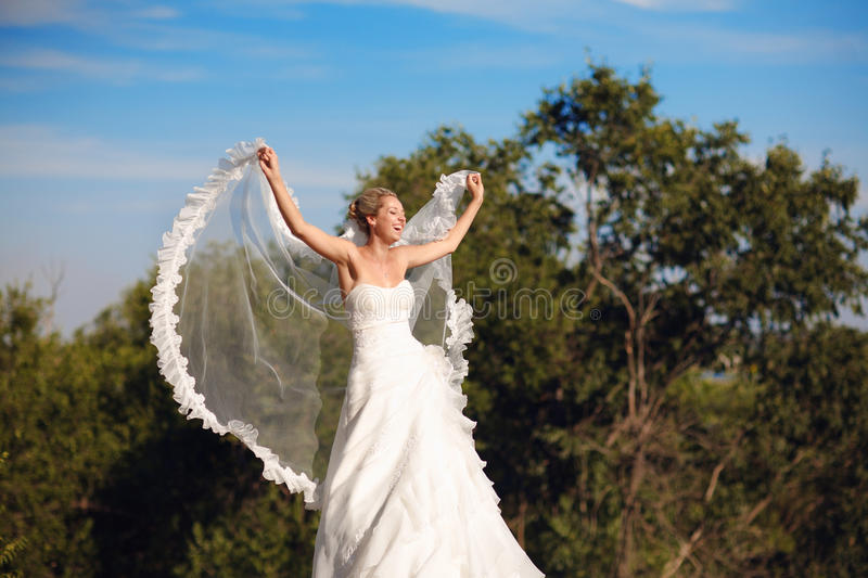 Download Bride With Veil In Form Of Wings Stock Photo - Image: 17871410