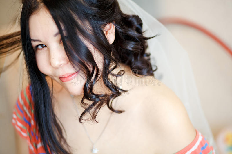 Download Bride With Veil In The Morning Doing Her Hair, Playful Look. Stock Image - Image: 83700891
