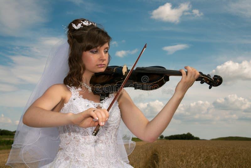 Download Bride & violin stock photo. Image of loving, rural, holiday - 15046196