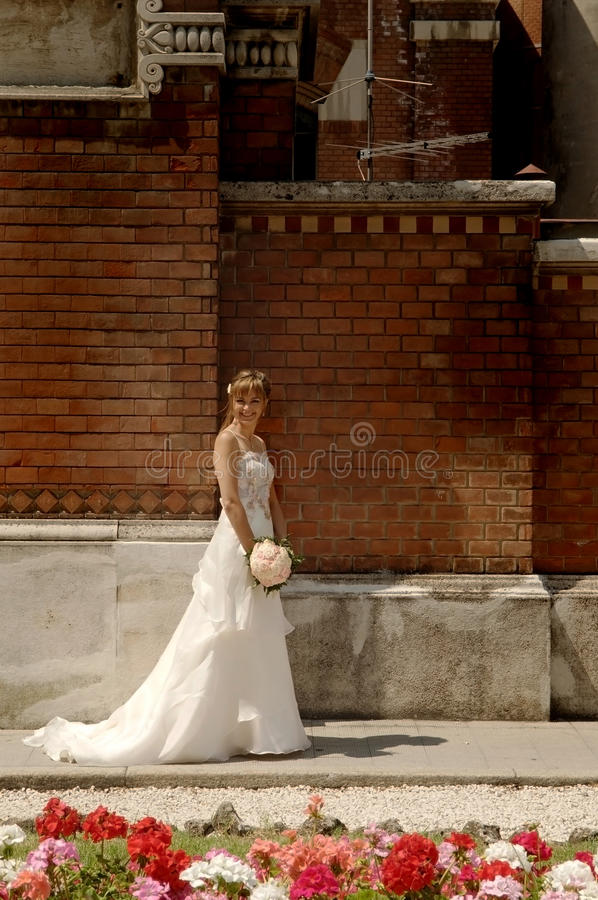 The bride is waiting. An happy bride is waiting for the marriage stock photo