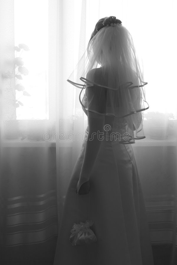 Bride waiting for groom royalty free stock images