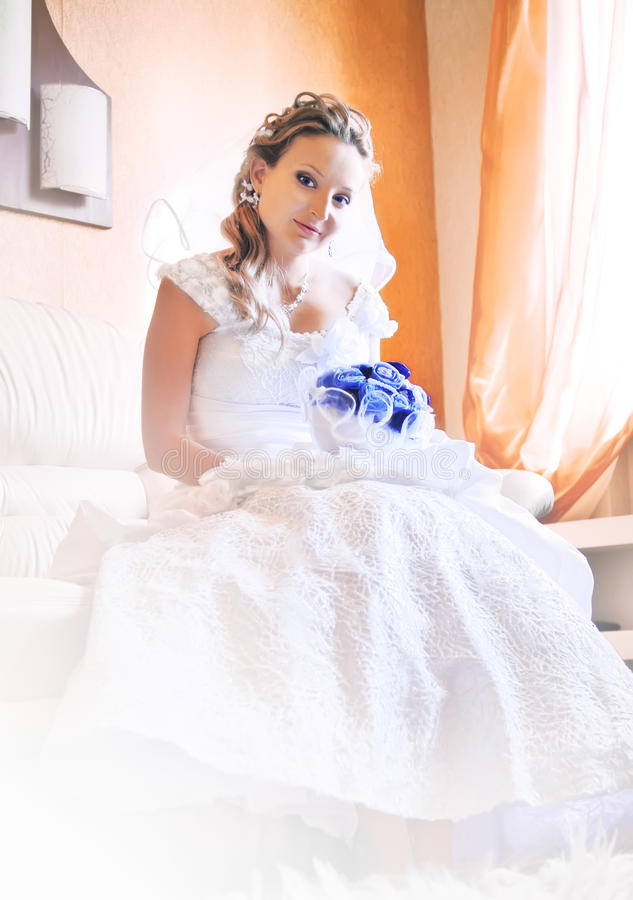 Bride is waiting for groom royalty free stock photo