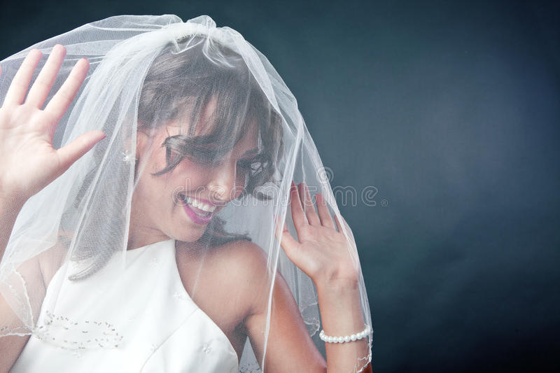 Bride wearing bridal veil. Smiling bride wearing her bridal veil stock photo