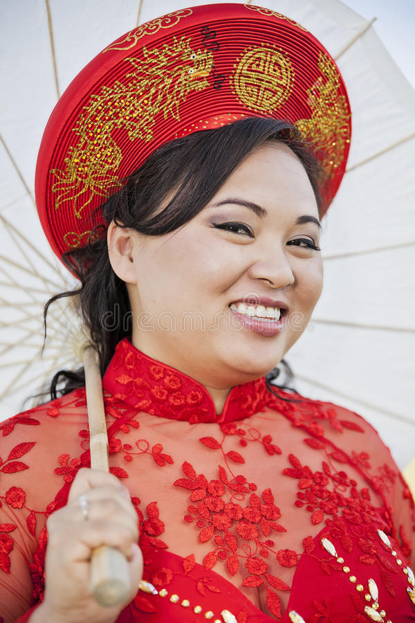 Bride Wearing Vietnamese Ao Dai Stock Photo - Image of vietnam ...
