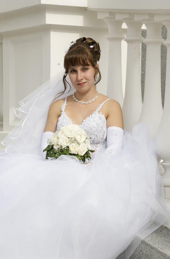 Bride. wedding. Beautiful bride with a wedding bouquet stock image