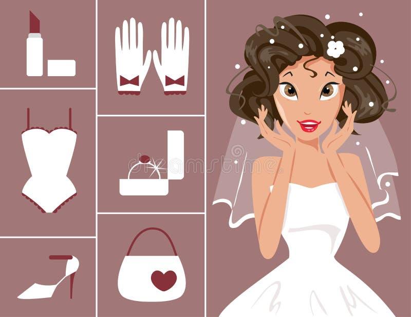 Bride and wedding accessories. Vector illustration of a bride and wedding accessories vector illustration