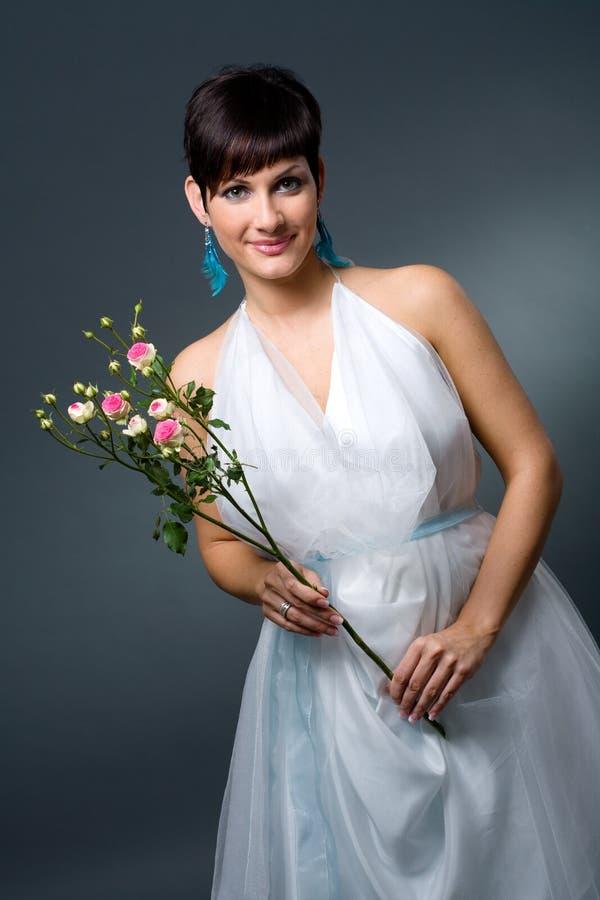 Bride in wedding dress stock photo