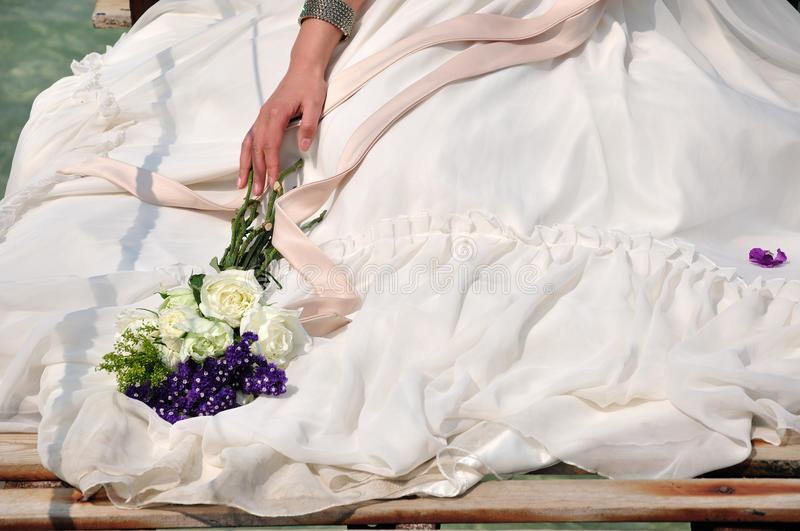 Download Bride In Wedding Dress And Bouquet Stock Photo - Image of love, body: 19152458