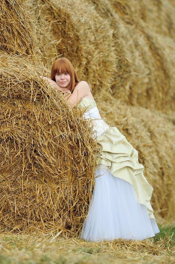 Bride In Wedding Dress In A Field Royalty Free Stock Photo