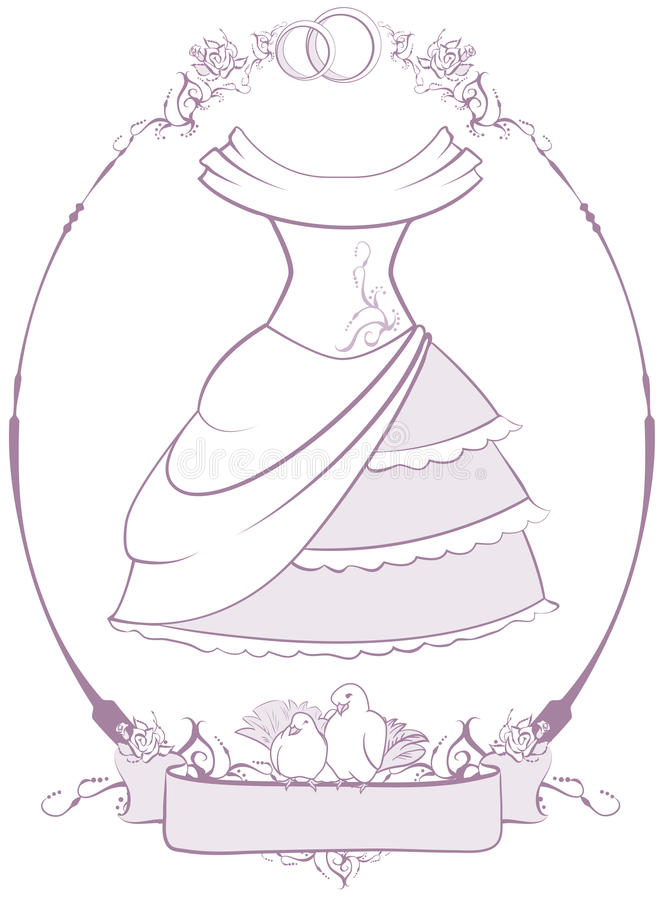 Bride Wedding Dress In Frame Stock Vector - Illustration of bird ...