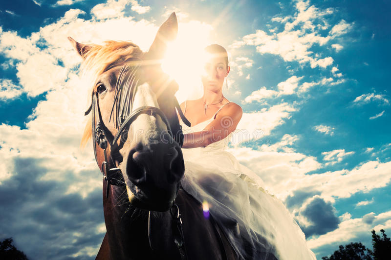 Bride in wedding dress riding a horse, backlit. Young Bride in wedding dress riding a horse, backlit picture, dreamy mood stock photos
