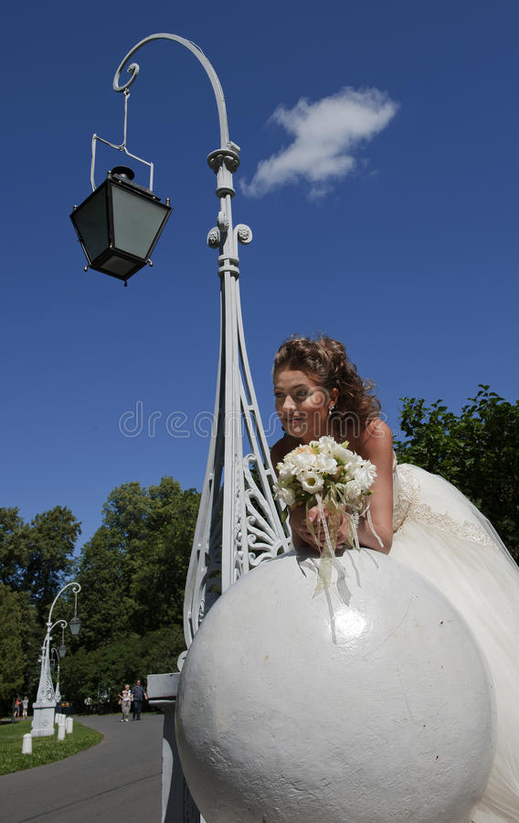 Download The Bride In A Wedding Dress On A Sphere. Stock Photo - Image: 20950948