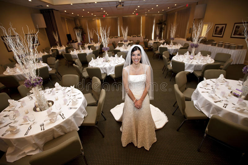 Bride in wedding venue royalty free stock photo