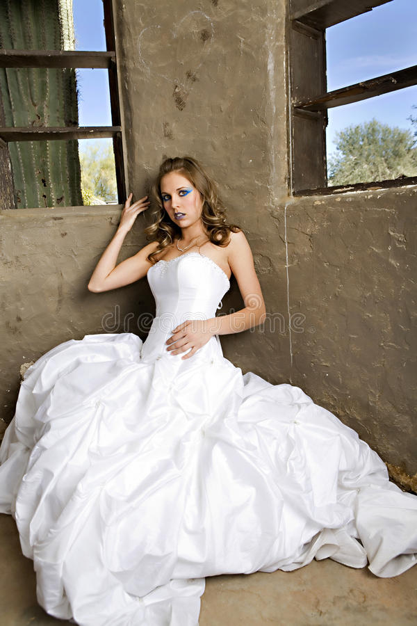 Download Bride in White stock photo. Image of adult, trash, dress - 20141730
