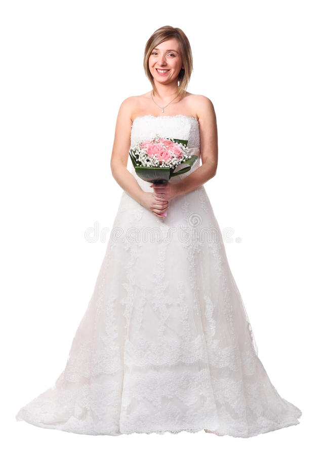 Bride on white. Portrait of smiling bride isolated on white royalty free stock photos