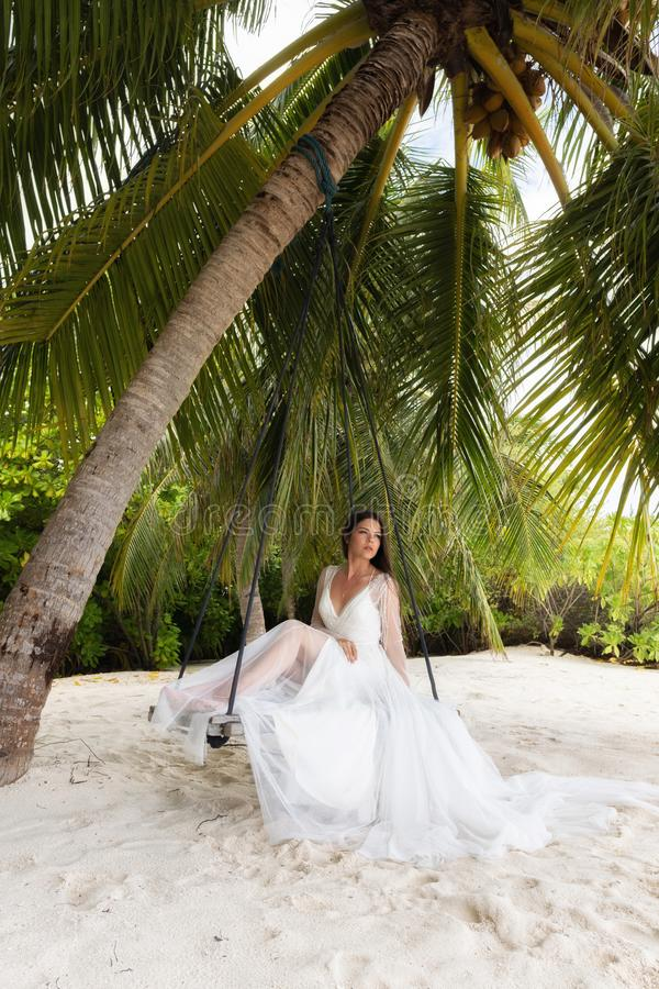 A bride in a white dress is riding on a swing under a big palm tree stock photo