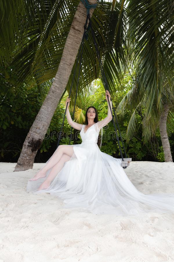 A bride in a white dress is riding on a swing under a big palm tree royalty free stock photo