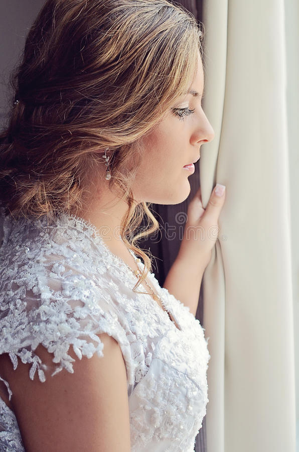 Download Bride at window stock image. Image of hopeful, feelings - 32839367