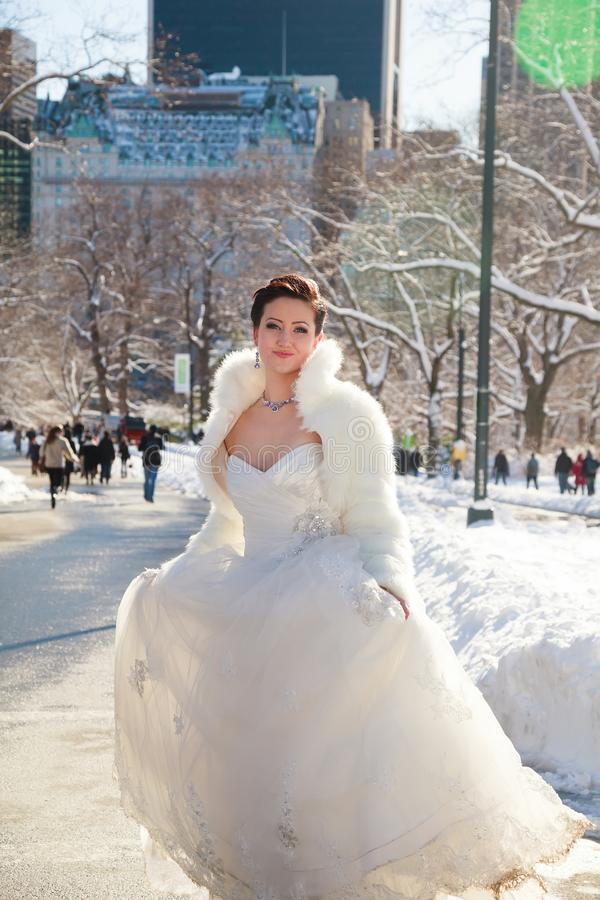 Bride in the winter against the backdrop of New York royalty free stock photography