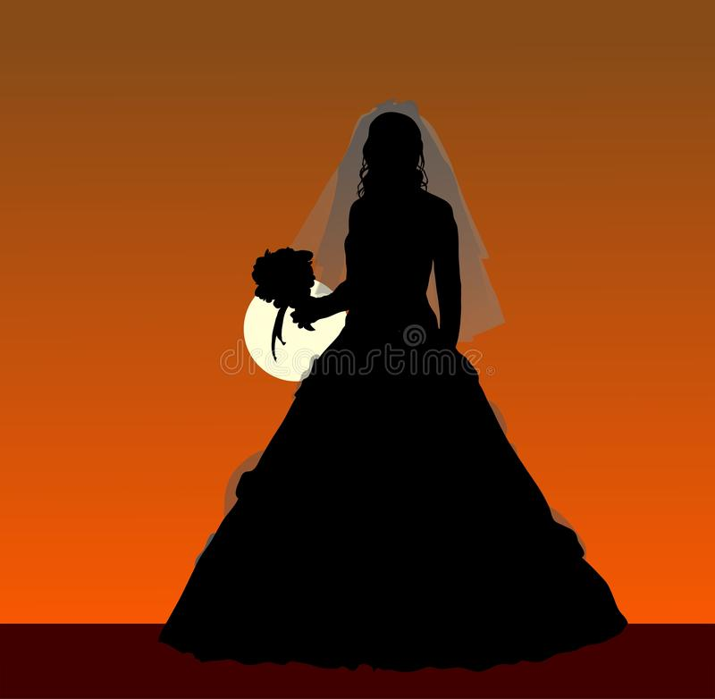 Free Bride With A Bouquet Silhouette Royalty Free Stock Photo - 16028695