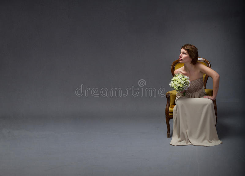 Bride woman looking up stock photography